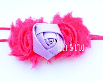 Hot pink and lavender baby girl newborn photography prop headband, lavender and hot pink headband, lavender and pink, take home outfit