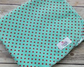 Extra Large Aqua with Red Dots Flannel Receiving Blanket  - Swaddle Blanket -  Polka Dot  Baby Swaddler