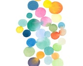 Watercolor colored dots connected colorful wall decor watercolor print abstract watercolor painting, large print