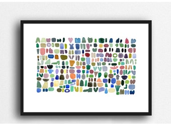 Beach combing watercolor painting, abstract watercolor print colorful watercolor