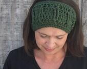 Cabled crochet headband, headwrap, ear warmer - forest green - crochet accessories Winter Fashion handmade Salutations Crochet