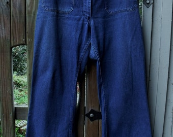 Vintage Flare Leg Denim Dungarees/ Retro Denim Jeans/ Wide Leg Jeans/ Shabbyfab Funwear