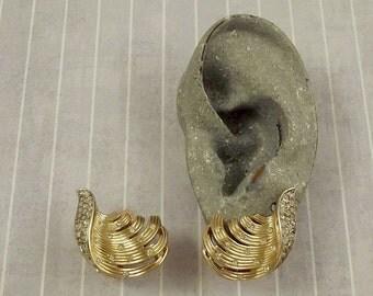 Vintage Trifari Wisp Earrings, Crown Trifari Clip Ons, Gold Tone Wings, Clear Rhinestones, Wispy Jewelry