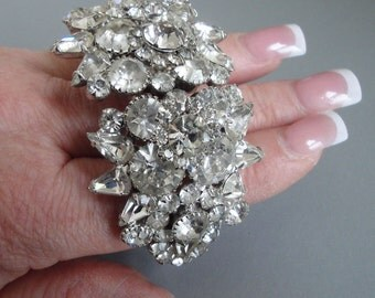Huge Juliana Clamper Bracelet in Crystal Clear Rhinestones-Amazing DeLizza and Elster Piece