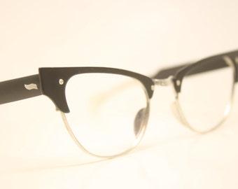 Small Unused Black Aluminum Combination cat eye glasses  vintage cateye eyeglasses frames