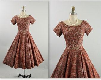 50's Dress //  Vintage 1950's Jonathan Logan Lace Floral Full Garden Party Cocktail Dress XS
