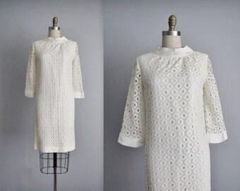 STOREWIDE SALE 60's Net Dress // Vintage 1960's White Lace Cocktail Party Mod Dress
