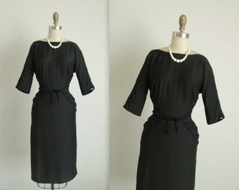 STOREWIDE SALE 50's Cocktail Dress //  Vintage 1950's Ruched Black Fitted Cocktail Party Wiggle Dress S