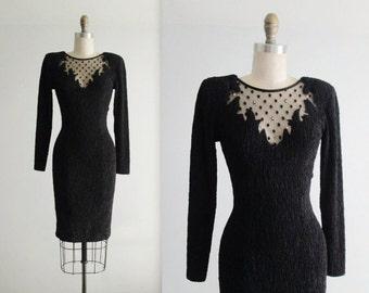 STOREWIDE SALE Vintage Body Con Dress // 80's Black Illusion Stretch Mesh Rhinestone Cut Out Illusion Body Con Dress XS