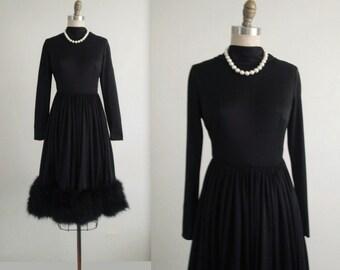 60's Maribou Dress // Vintage 1960's Black Maribou Feather Cocktail Party Dress S