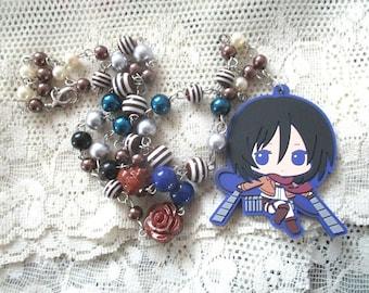 Anime necklace - AoT MISAKA - Beaded necklace