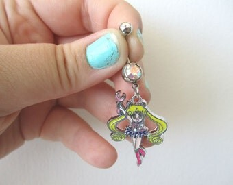 Sailor Moon Belly button Piercing  - USAGI - Belly iridescent botton jewelry - Sailor Moon Belly ring