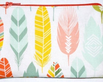 Feather Coin Purse Zipper Pouch