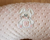 Bunny Appliqued Minky Boppy Cover with choice of colors and personalization options