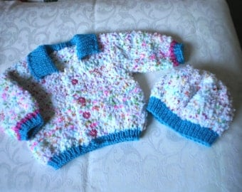 Buttercup Baby Sweater and Hat Set for 12 to 18 Months