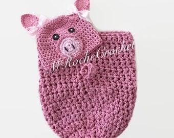 Crochet pig hat, pink pig hat, baby pig hat, crochet cocoon, newborn photo prop, baby pea pod, crochet cocoon, pig blanket, baby pig blanket