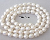 TINY white freshwater rice pearls, 5mm x 3mm, 16 inch strand