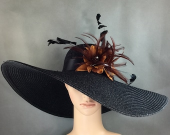 Brown feathers Kentucky Derby Hat, Church Hat, Dressy Hat ,Formal Hat, Wedding Hat,Special Occasion