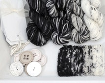 Hand Dyed Yarn, Handdyed sock yarn, speckle yarn,  superwash black and white gradient set