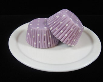 Lavender Polka Dot Mini Cupcake Liners, Mini Baking Cups, Mini Muffin Papers, Mini Candy Paper, Cake Pop Papers, Truffle Cases  - QTY. 25