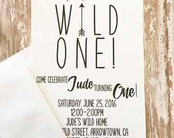 12 wild one first birthday invitations, printed boy 1st birthday invitations, black and white arrow invites, first birthday arrow invites