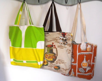 LAST FEW SALE Vintage Fabric  Shopper / Tote Bag in   70s Kitchenalia brown and lime geometric fabrics