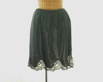 Vintage Half Slip 1960's Black Wide Scalloped Hemline Side Slit Old Stock Unworn 30-34 Waist