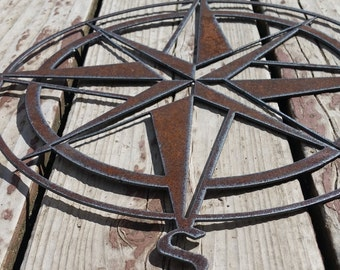 Rustic Nautical Compass Recycled metal art 18 inch