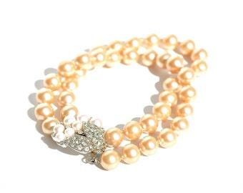 Multi Strand Pearl & Vintage Rhinestone Bracelet, Vintage Jewelry by Dabchick Vintage Gems