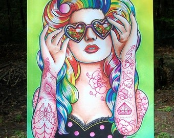 30x40 in Large Stretched Canvas Print - Pretty Rainbow Haired Tattooed Pin Up Girl - Lowbrow Outsider Art Wall Art