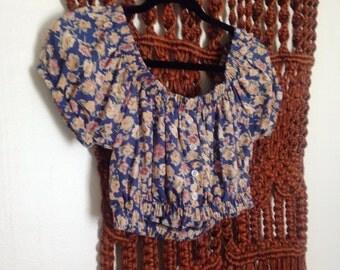 Smocked Floral Peasant Blouse Crop Top M