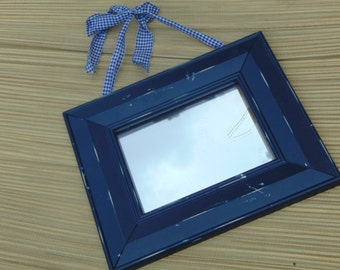 Blue Mirror, Distressed Mirror, Wall Mirror, Farm House Decor, Shown In Blue with Country Check Ribbon