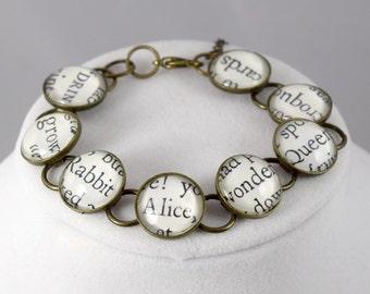 Alice in Wonderland Bracelet, Literary Jewelry, Book Lover's Bracelet