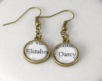 Elizabeth & Mr Darcy Earrings // Pride and Prejudice // Famous Pairs Literary Jewelry