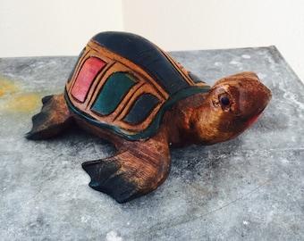 Carved Wooden Folk Art Turtle