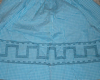 Vintage Aqua Gingham Checked Apron