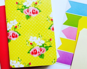 Yellow Floral Set of 2 . Field Notes Travelers Notebook Jotter Refill Insert Travel Journal Agenda Midori Fauxdori List Listers Planner Girl
