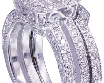 GIA F-VS2 14K white gold princess cut diamond engagement ring and band 2.50ct