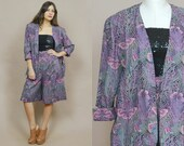 70s Two Piece Suit Culottes Butterfly Print Coord Matching Jacket Psychedelic Print Blazer 1970s Glam Hippie / Size L Large