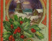 Red and Gold Embossed Vintage Christmas Postcard Winter Windmill and Golden Pot of Holly