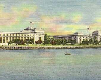 Massachusetts institute of technology (MIT) on the Charles Unused Vintage Linen Postcard Cambridge Mass
