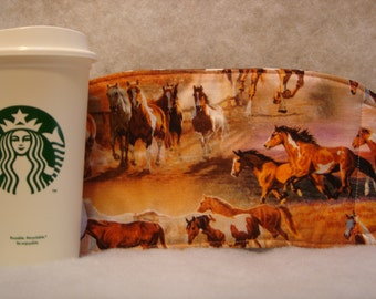 Arti REVERSIBLE Coffee Cup Sleeve, wILD HORSES For STARBUCKS To-Go Cups / with Pocket