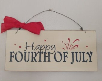 Wooden Americana Sign - July 4th - Fourth of July Wooden Sign - Happy Fourth of July Sign