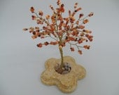 wire tree sculpture  with glass beads  , bonsai tree of life , feng shui tree , orange & brown tree