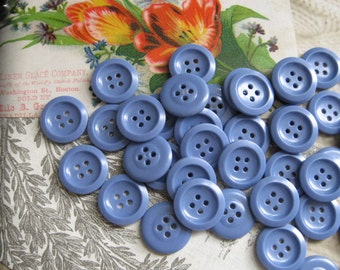 Pretty Periwinkle Blue Vintage Buttons...new old stock...1940s...lot/75