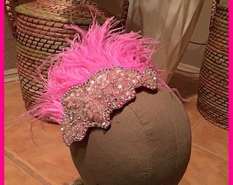 Swarovski Crystal Pink Feather Beaded Applique Hairpiece Haircomb