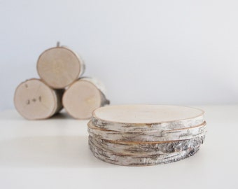 natural white birch wood coasters (large) - set of 4, modern rustic coasters, wood slice coasters, tree branch coasters