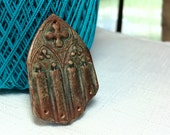 Rustic Handmade Cathedral Window Pendant in Green and Copper Jewelry Component