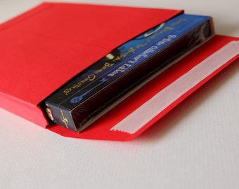 Set of 3 red box envelopes for DVDs and small gifts.