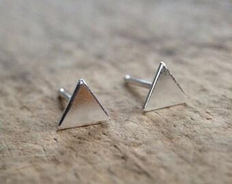 Triangle Earrings, Sterling Silver Stud Earrings, Silver Post Earrings, 925 Stud Earrings, Sterling Studs, Bohemian Jewelry